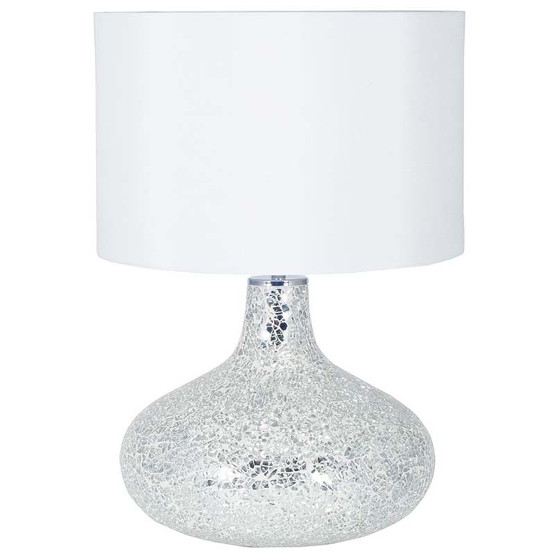 Crackle White Mirror Mosaic Table Lamp With Cylinder Shade
