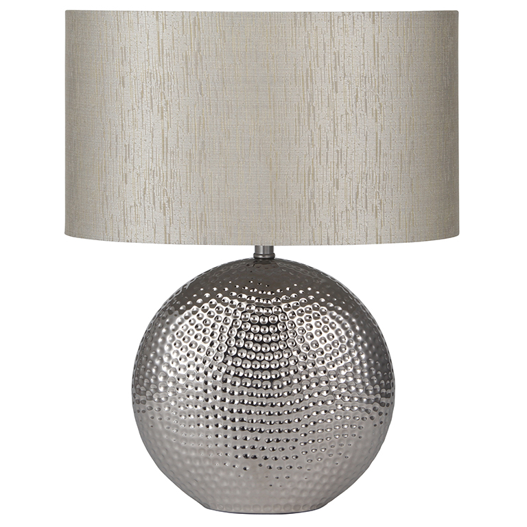Ceramic Hammered Table Lamp With Chrome Finish With Silver Oval Shade