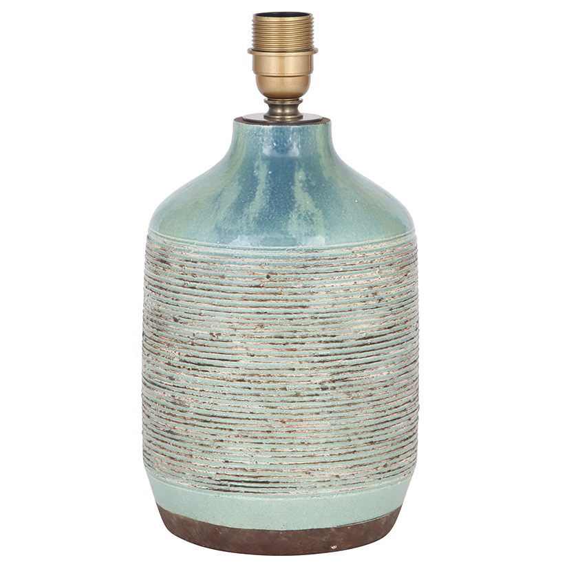 Stunning Design Ceramic Lamp Base Only Blue Green Stoneware Pot