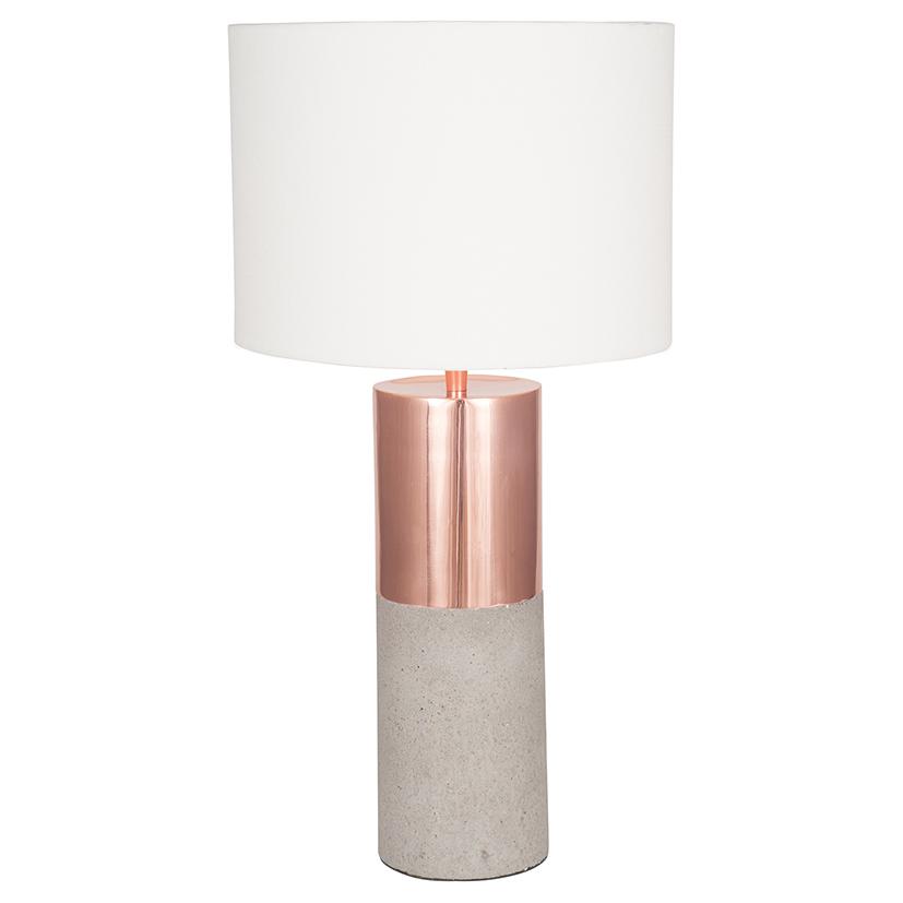 Two Tone Metal & Matt Concrete Lamp Handloom White Shade