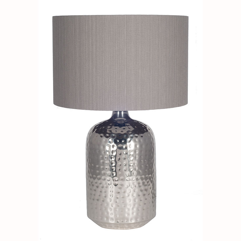 Nickel Capsule Pot Table Lamp Base Only Hammered Design
