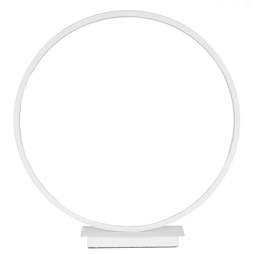 Small White LED Circle Table Lamp Chrome Base Energy Efficient