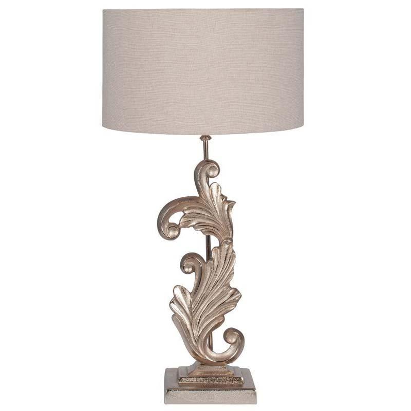 Stylish Sculptural Table Lamp Champagne Finish Grey Fabric Shade