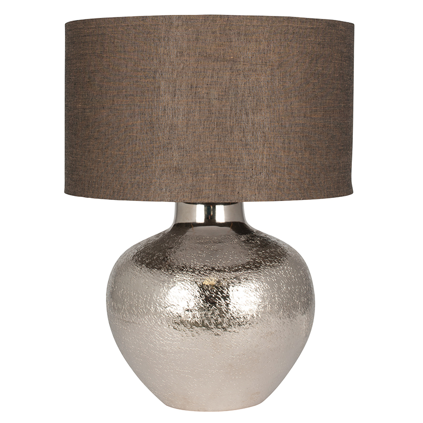 Stunning Classic Nickel Etch Pot Table Lamp With Taupe Grey Shade
