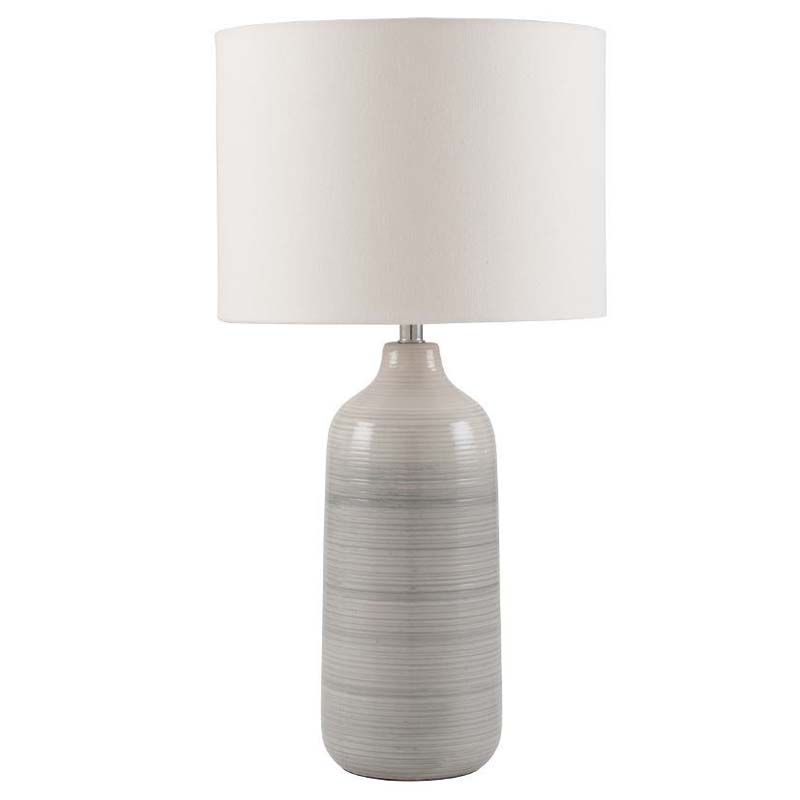 Blue & Grey Ombre Ceramic Table Lamp With Cream Shade
