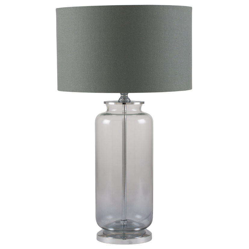 Contemporary Clear Glass Table Lamp With Grey Cylinder Shade