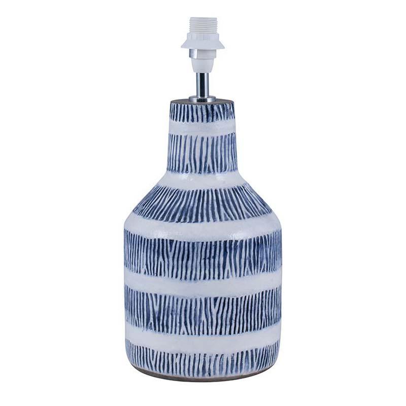 Etched Blue/White Detail Stoneware Lamp Base Only Coastal Style