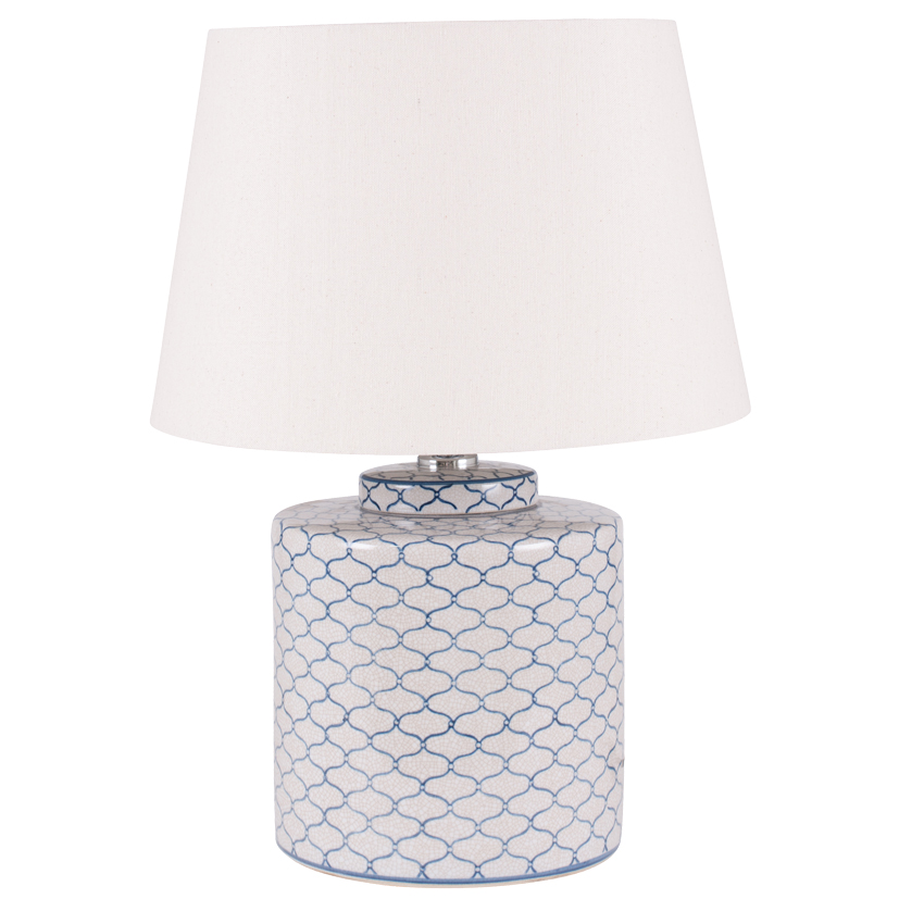 Ceramic Table Lamp Grey & Blue Detail And Tapered Cream Shade