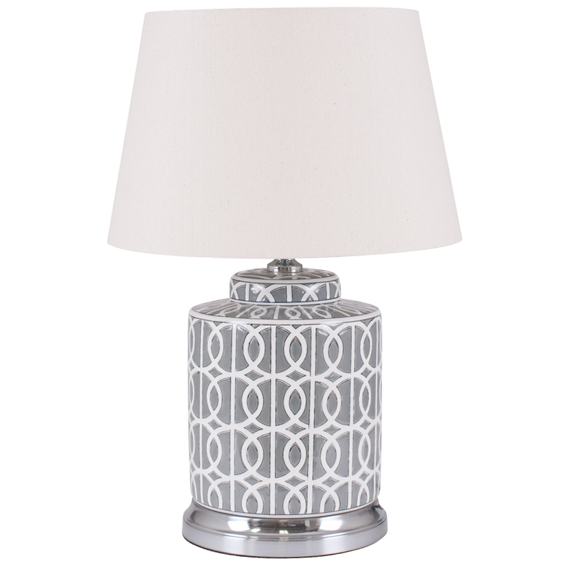 Small Grey Ceramic Table Lamp White Pattern Base With Tapered Cream Shade