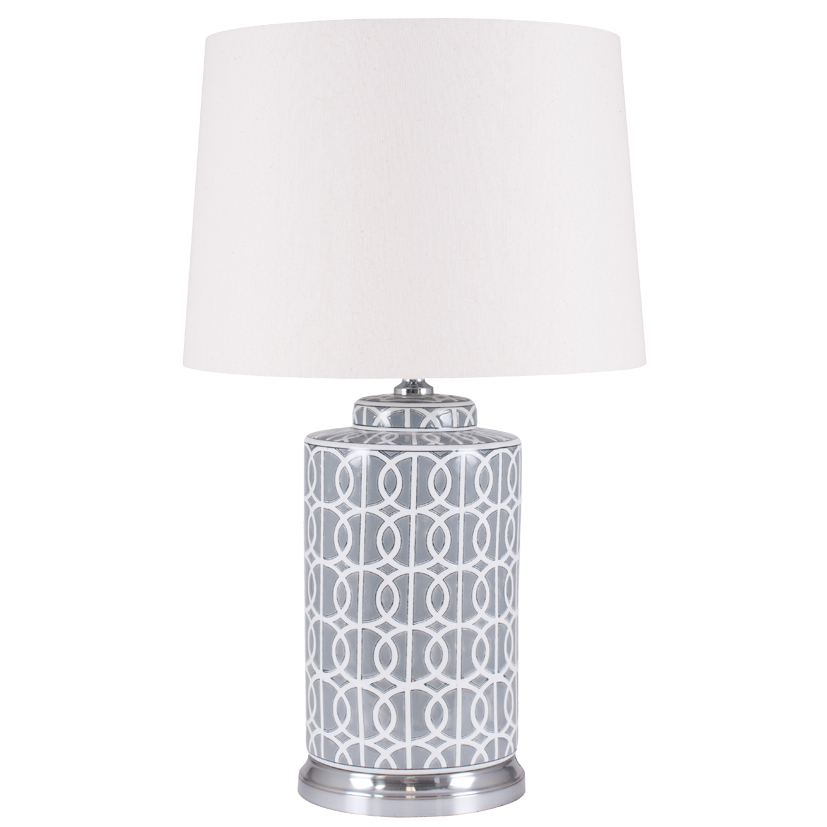 Large Grey Ceramic Table Lamp With White Pattern & Tapered Cream Shade