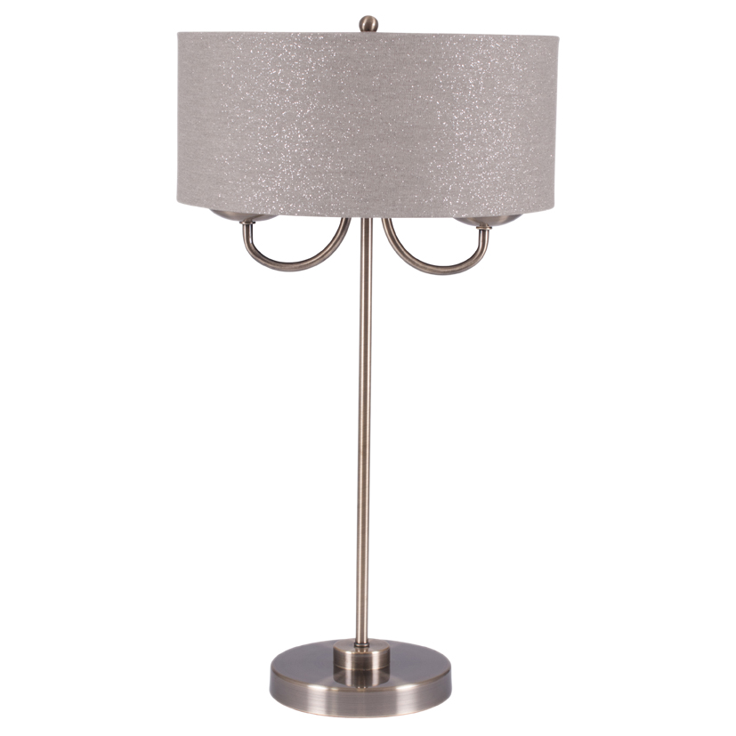 Antique Style Classic Table Lamp Brass Shade Linen Effect Shade