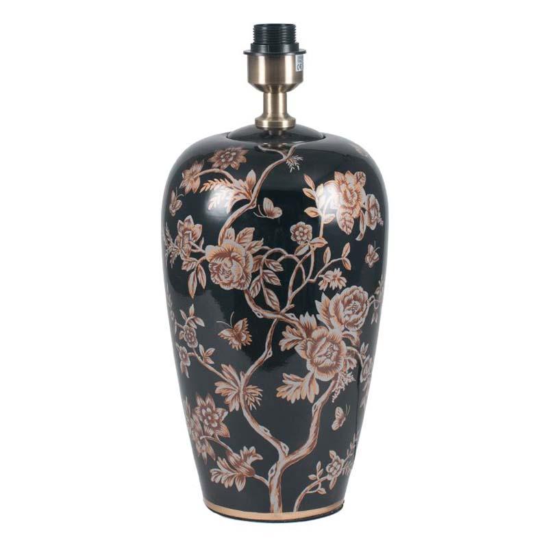 Black Floral Design Ceramic Lamp Base