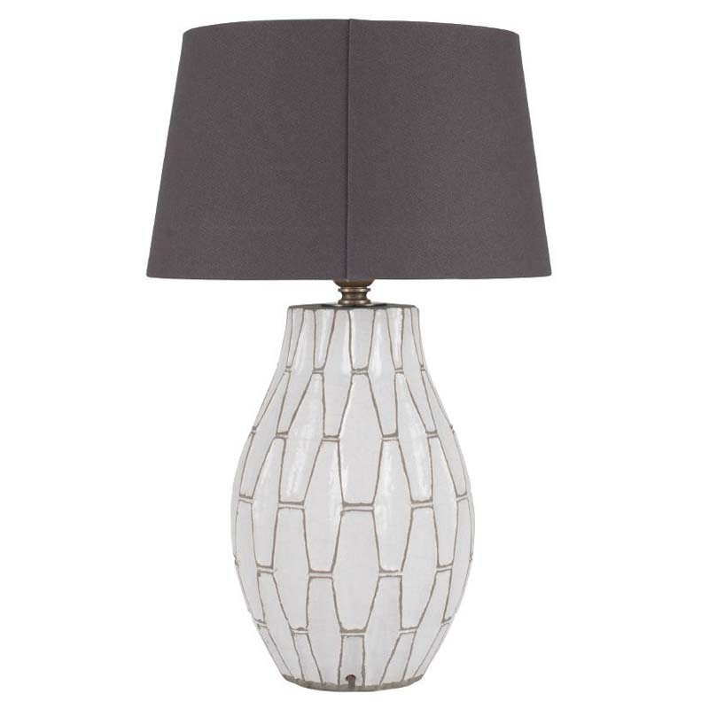White Geometric Table Lamp With Grey Detail