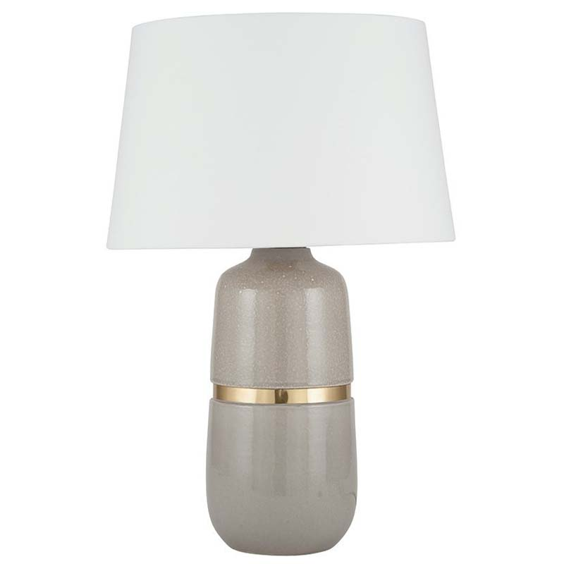 Grey Glaze Ceramic With Gold Metal Band Table Lamp