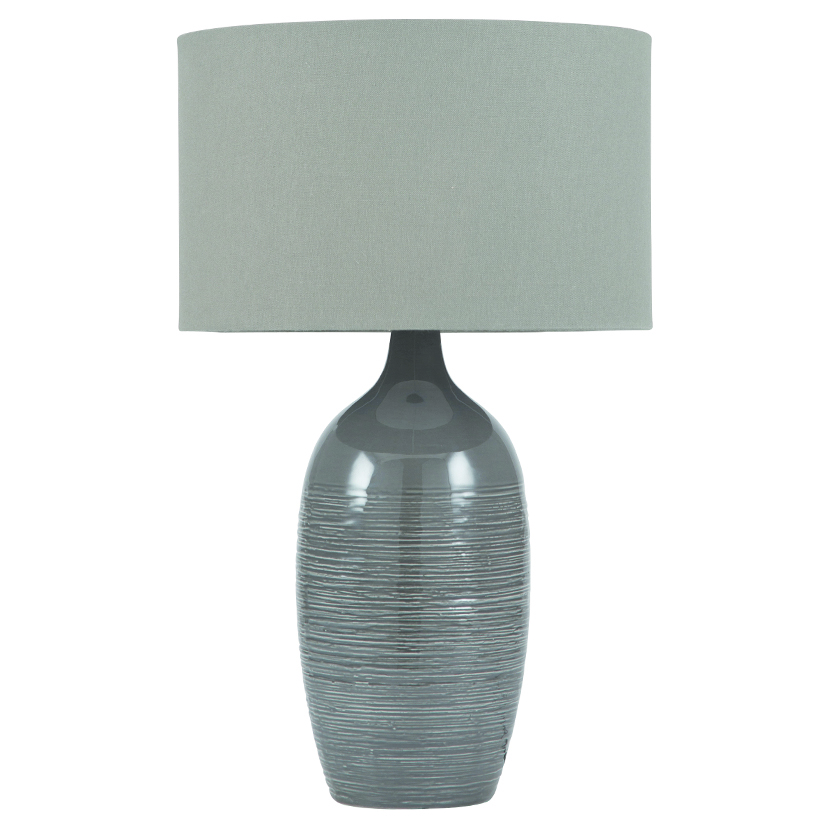 Graphite Scratched Ceramic Table Lamp With Shade