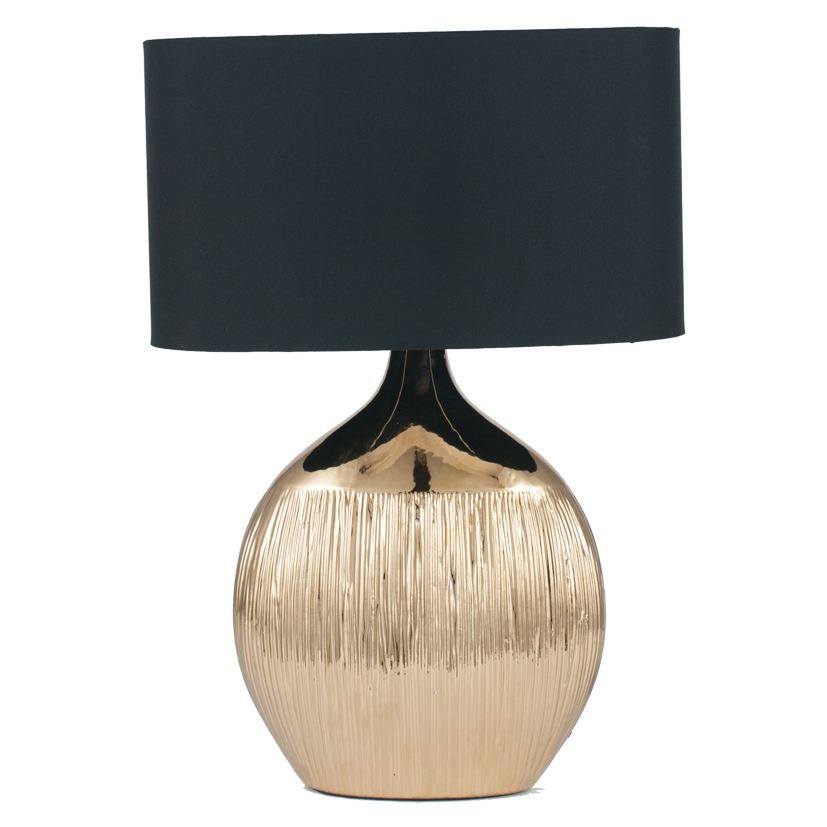 Gold Scratched Ceramic Complete Table Lamp