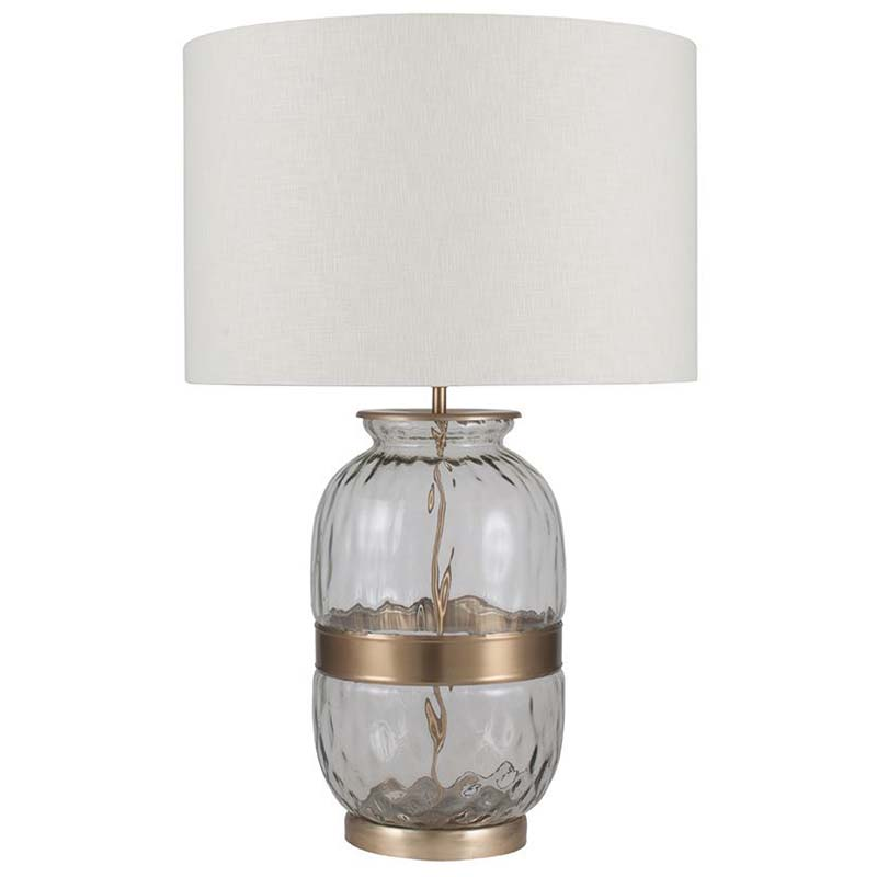 Large Glass Table Lamp With Metal Belt