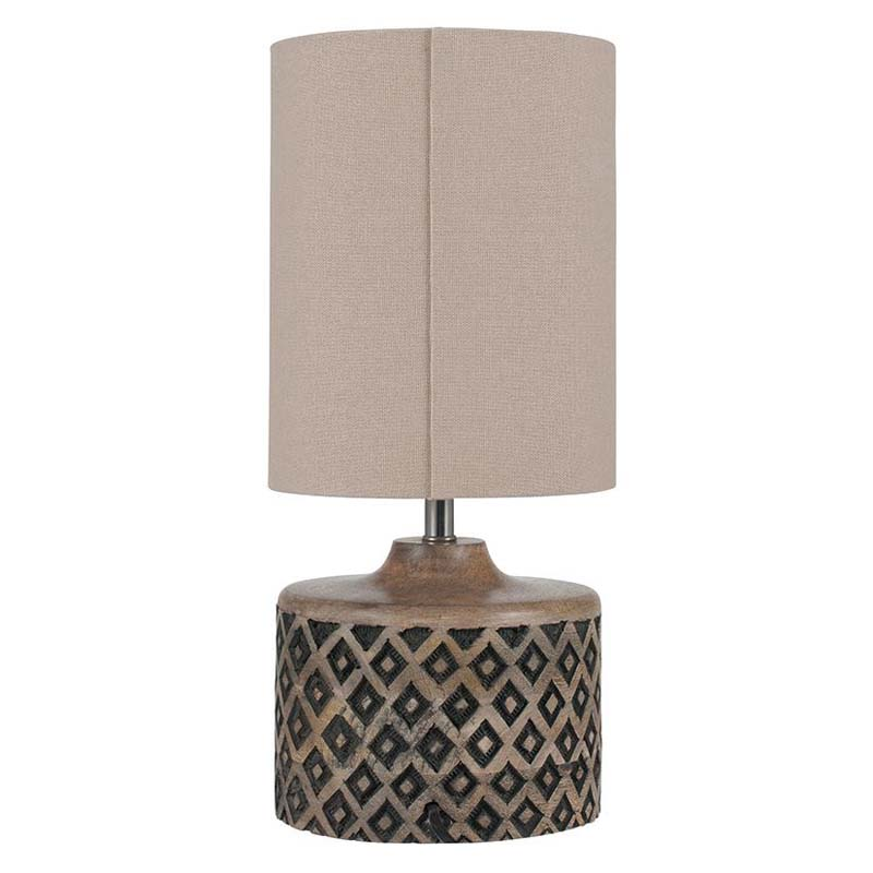Short Wooden Diamond Pattern Table Lamp Complete Linen Shade