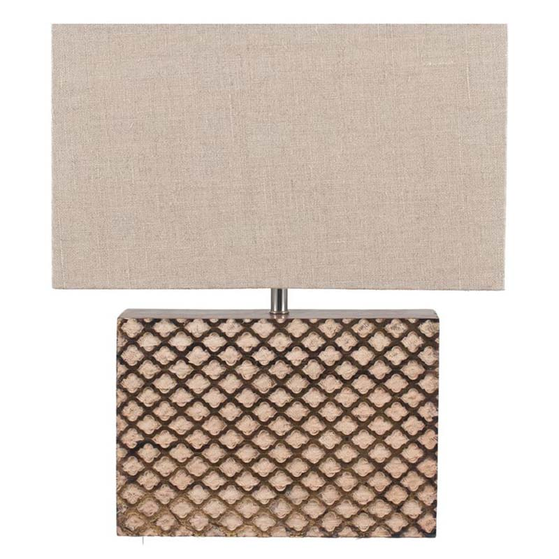 Rectangle Wooden Gold Leaf Table Lamp Complete