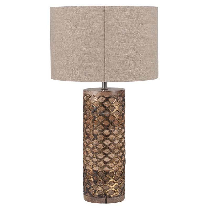 Cylinder Wooden Gold Leaf Table Lamp Complete