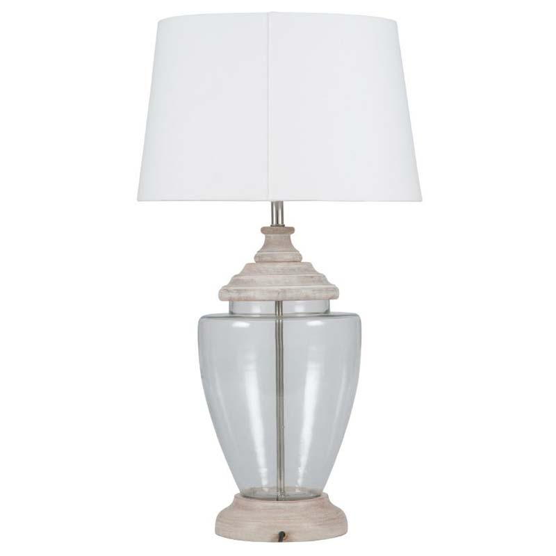 Wood And Glass Urn Table Lamp