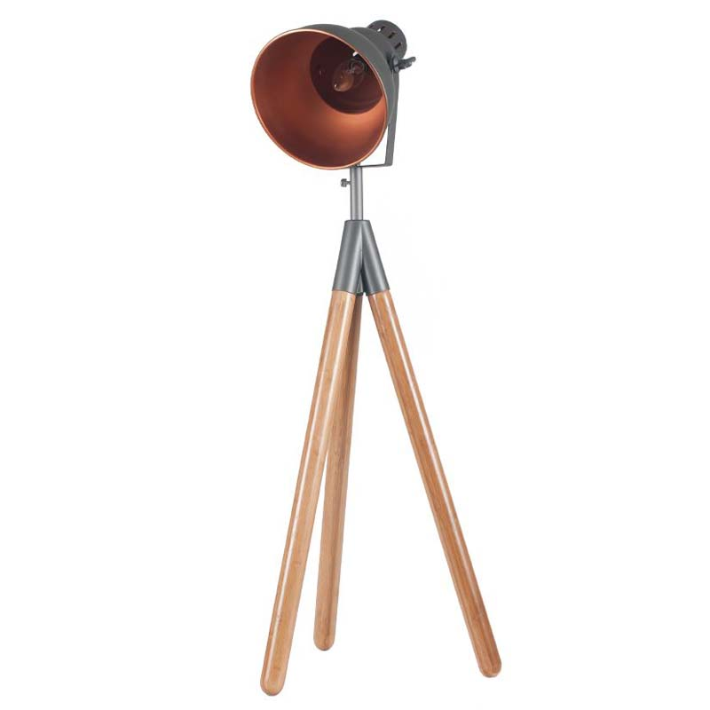 Grey Metal & Natural Wood Tripod Table Film Light