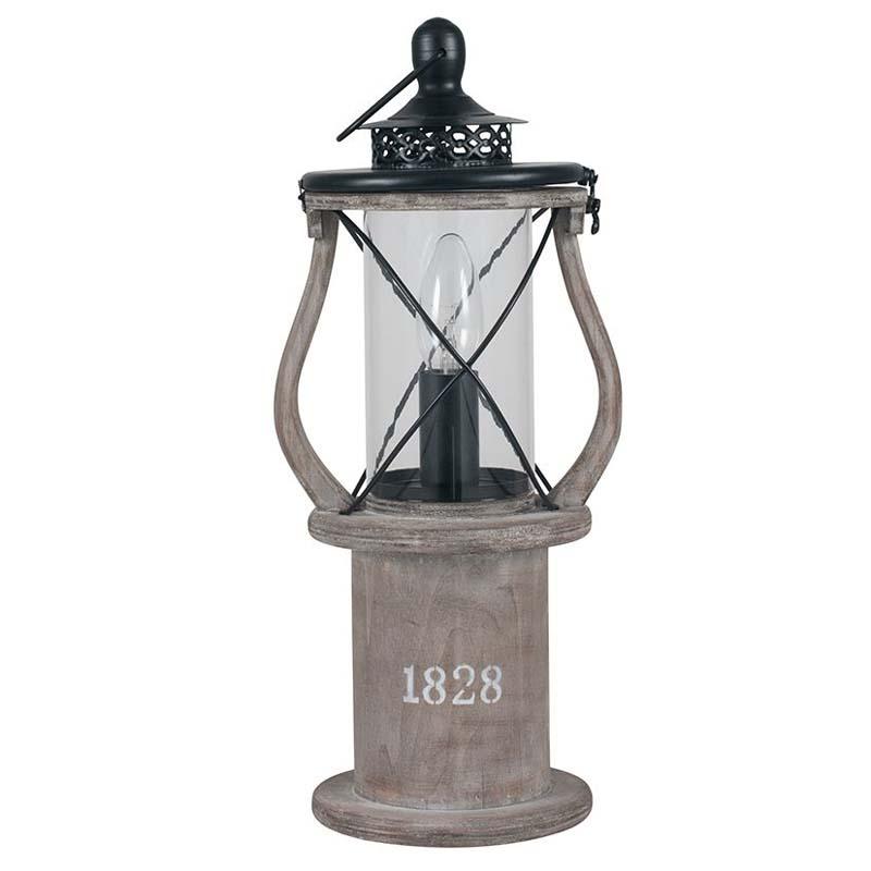 Antique Wood Table Lamp Lantern