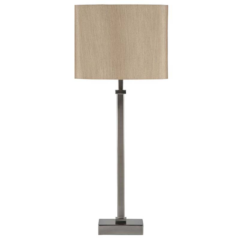 Satin Nickel Stick Table Lamp & Beige Oval Shade