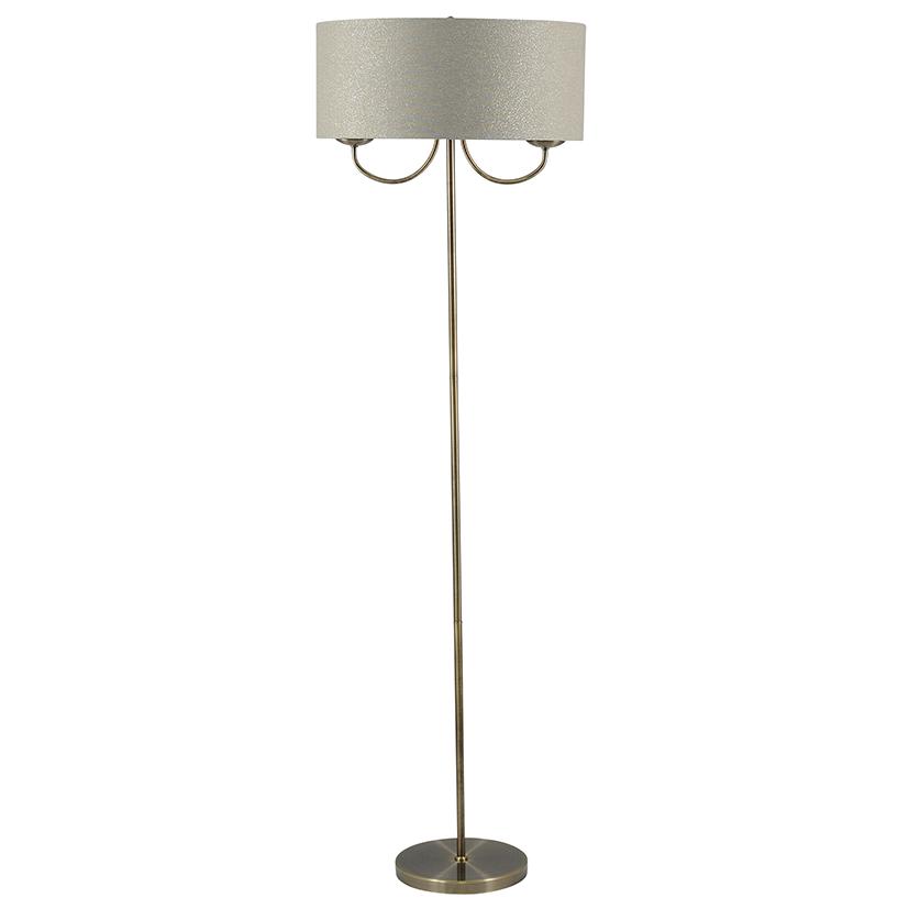Classic 2 Light Antique Brass Shade Floor Lamp Modern Home Decor
