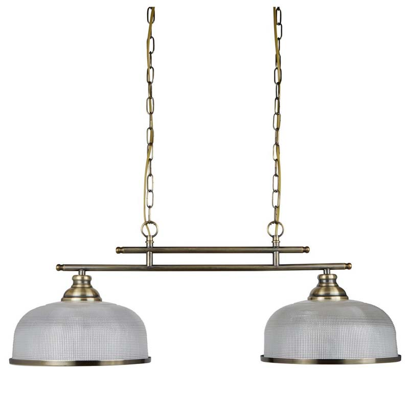 Bistro LED 2 Light Antique Brass Vintage/Retro Style Metal Bar Pendant, Dome Shape Halophane Glass Shade - Living Room