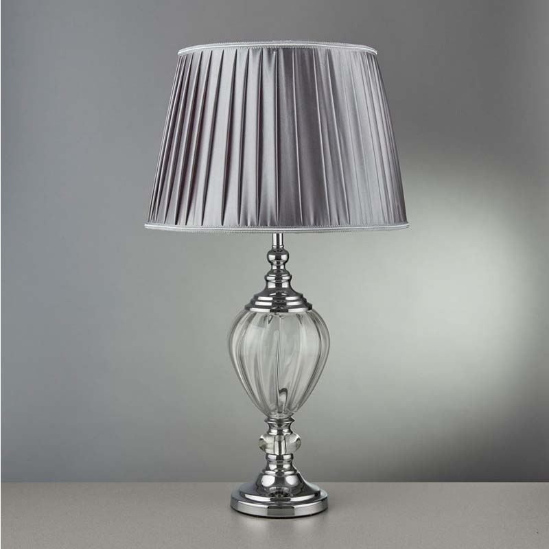 Greyson Table Lamp - Clear Glass Urn Base, Pewter Pleated Tapered Shade