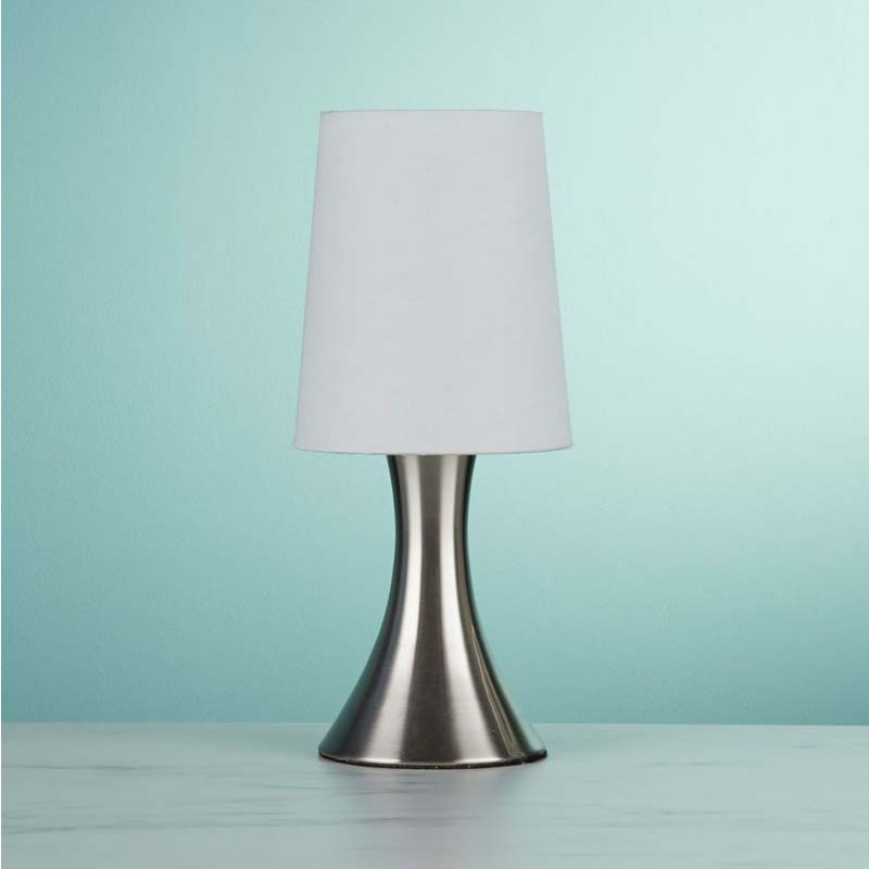 Sleek Design Touch Table Lamp Satin Silver Base White Tapered Shade