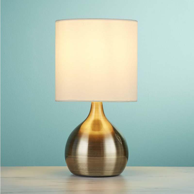 Sleek Design Touch Antique Brass Table Lamp White Drum Shade