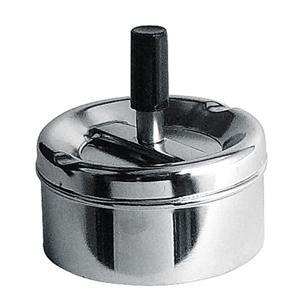 Spinning Ashtray,Small Chrome Effect,Black Handle Detail