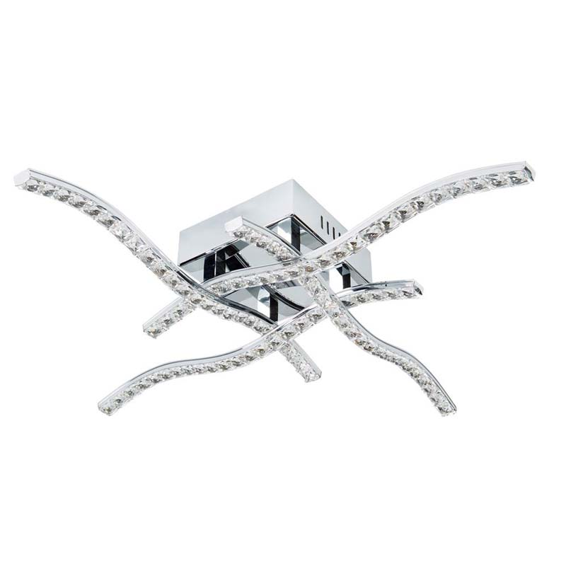 Anson 4 Arm Led Ceiling Flush, Chrome, Clear Crystal Trim
