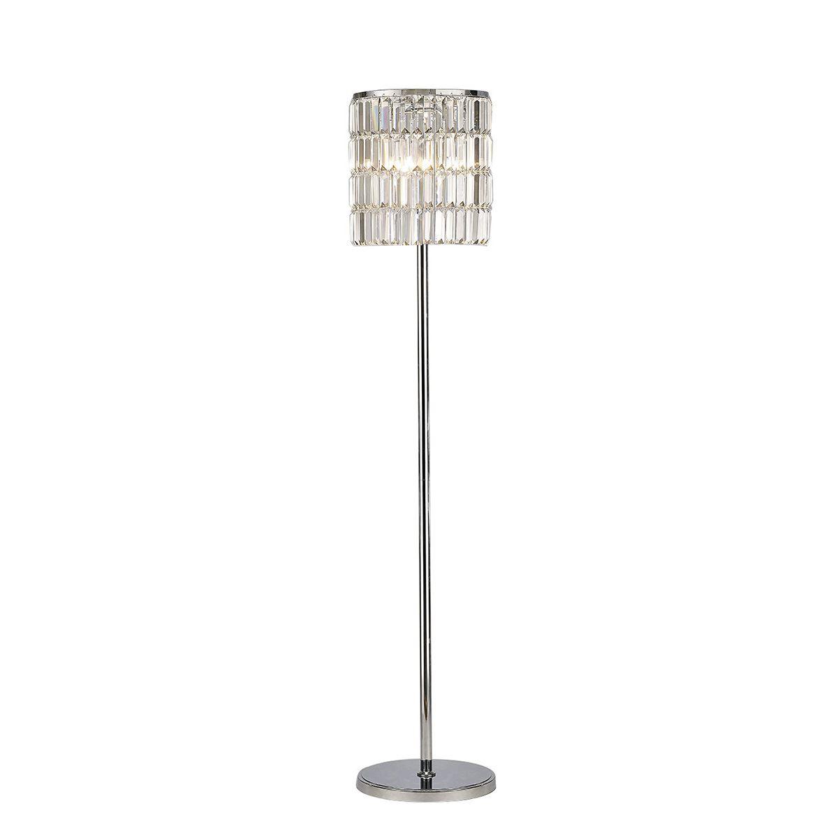 Diyas IL30179 Torre Crystal Curtain Floor Lamp 5 Light Polished Chrome