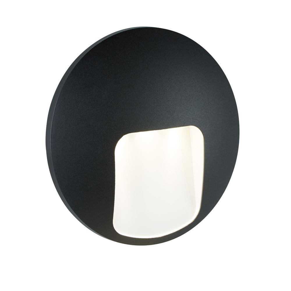 Outdoor 1 Light Disc Led Wall Bracket, Black