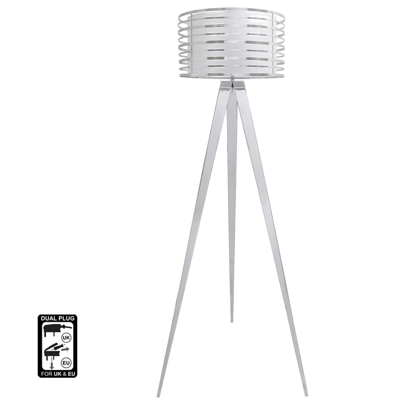 Traditional Style Chrome Hollywood Floor Lamp With White Metal Outer Drum Shade