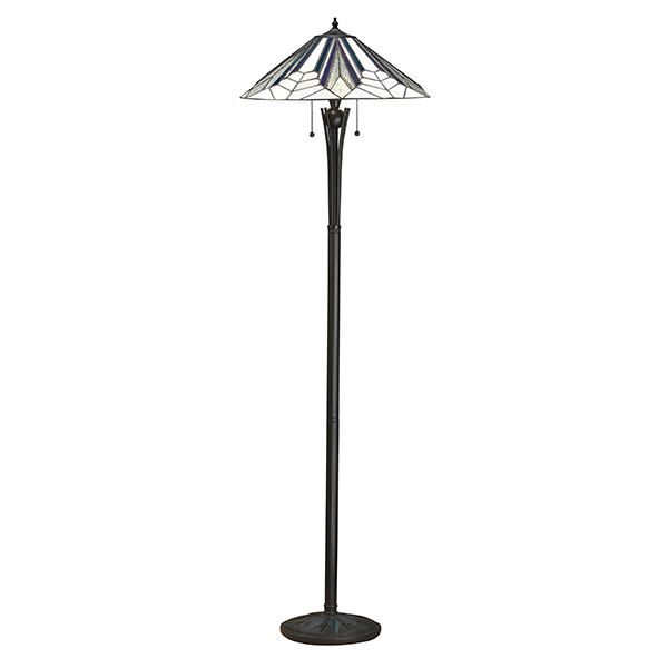 Interiors Astoria Tiffany Style Polyester Floor Lamp Black Glass Shade