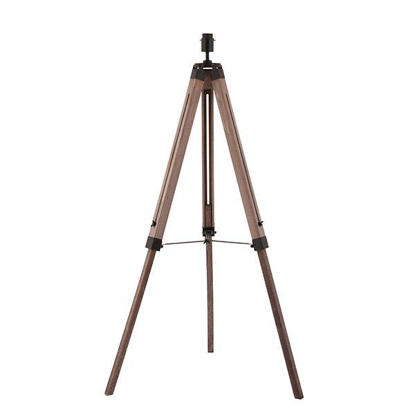 Bennett Wooden Floor Lamp 40W SW - Matt Black Steel & Brown Wood