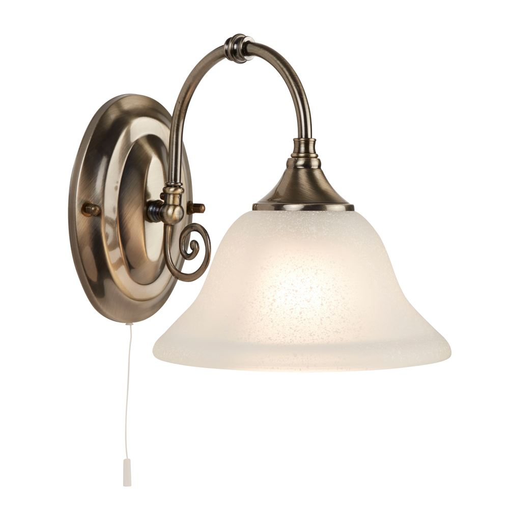 Virginia Antique Brass Wall Light Complete With White Scavo Glass