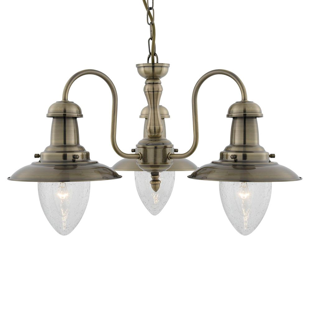 Fisherman 3 Light Antique Brass Ceiling With Seeded Glass Shades