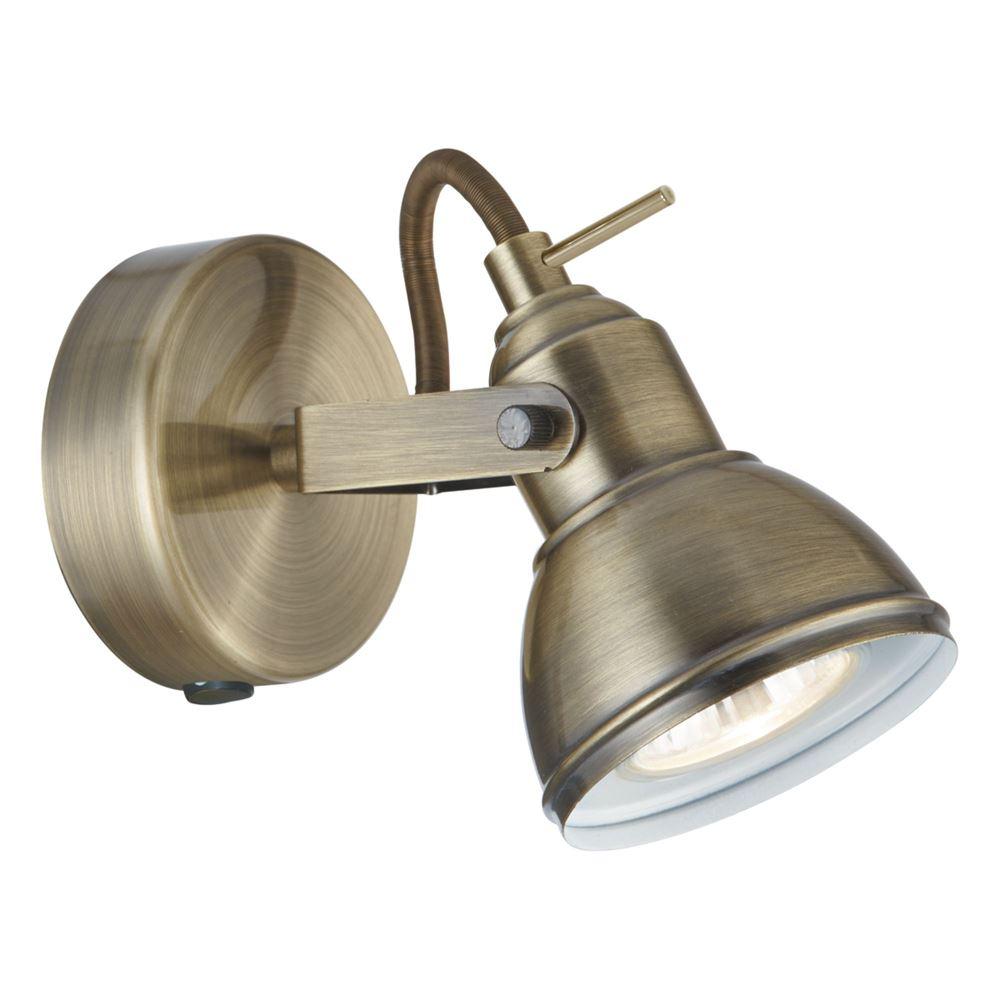 Focus 1 Light Antique Brass Industrial Spotlight
