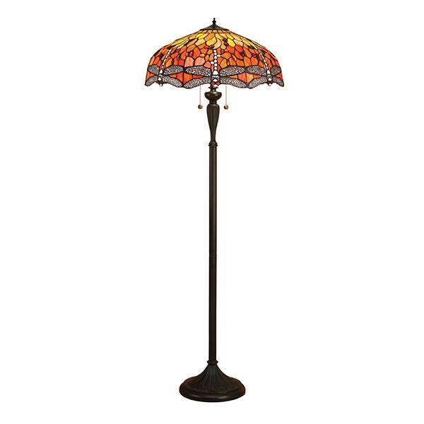 Interiors Dragonfly Flame 2 Light Tiffany Style Black Floor Lamp Happy Homeware