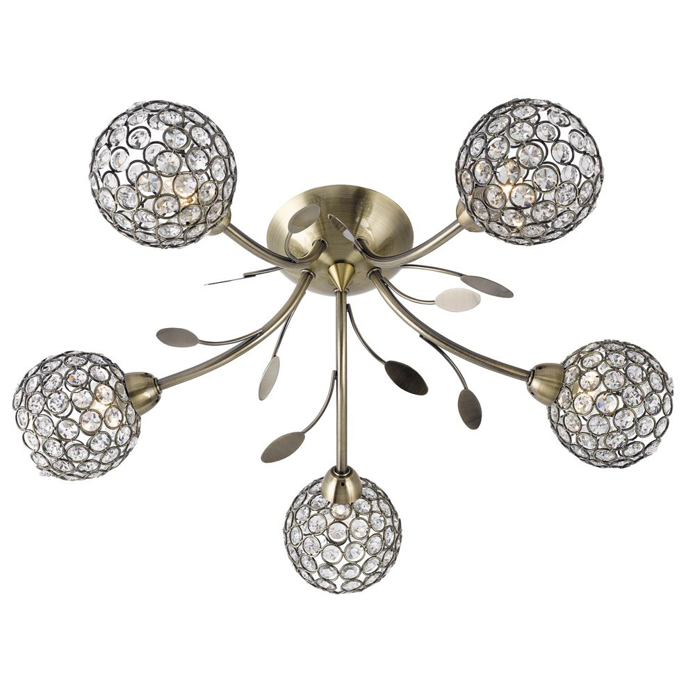 Bellis Ii - 5 Light Semi-Flush Ceiling Light, Antique Brass With Clear Glass Deco Shades