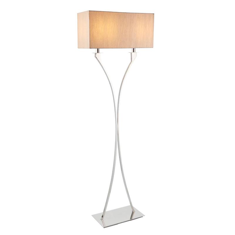 Vienna 2 Light Polished Nickel Floor Lamp & Beige Organza Effect Fabric Shade