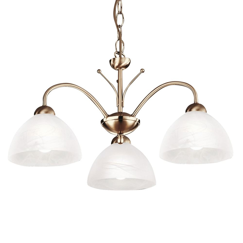 Milanese 3 Light Antique Brass Fitting Complete With Alabaster Glass