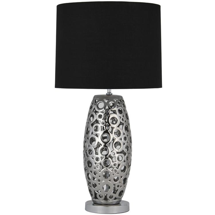Modern Ceramic Laser Cut Table Lamp Black Cylinder Shade