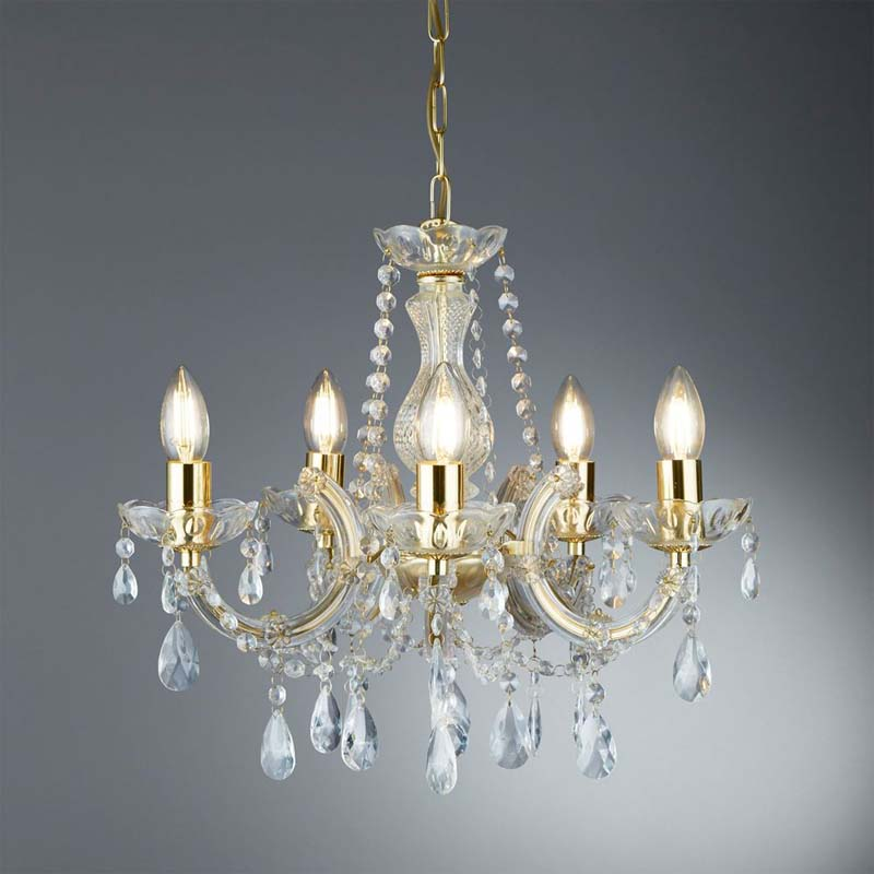 Decorative Polished Brass 5 Light Chandelier & Crystal Decor