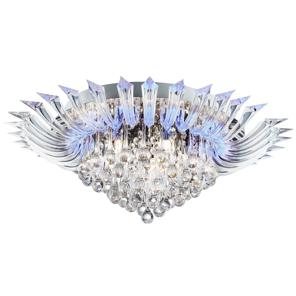 Crystoria 5 Light / Blue Led Ceiling Flush (W/ Remote), Chrome, Clear Glass Drops/Acrylic Arms